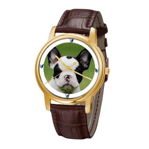 French Bulldog Unisex Golden Wrist Watch- Free Shipping