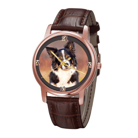 Australian Shepherd Print Unisex Rose Gold Wrist Watch - Free Shipping