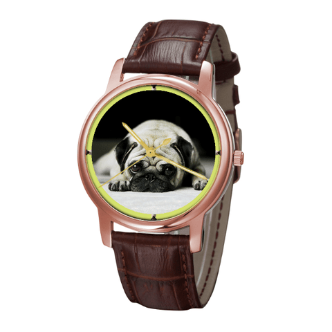 Pug Unisex Rose Gold Wrist Watch - Free Shipping