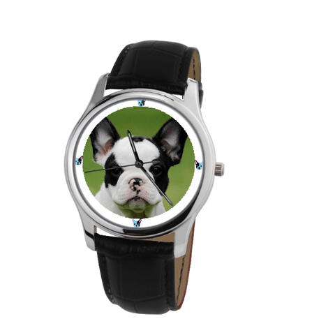 French Bulldog Unisex Silver Wrist Watch-Free Shipping