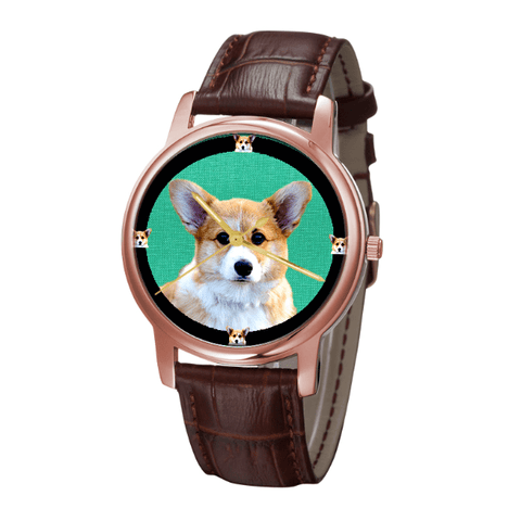 Pembroke Welsh Corgi Unisex Rose Gold Wrist Watch - Free Shipping