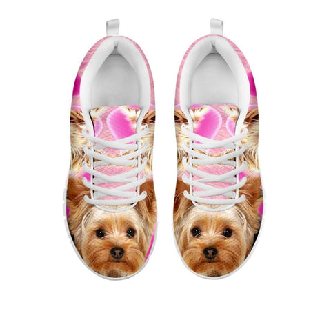 Yorkshire Terrier On Pink Print Running Shoes For Women- Free Shipping- For 24 Hours Only