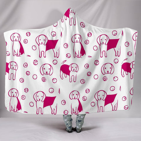 Cute Beagle dog Patterns Print Hooded Blanket-Free Shipping