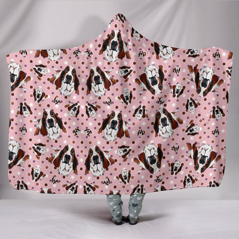 Cute Basset Hound Dog Pattern Print Hooded Blanket-Free Shipping