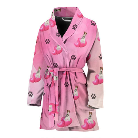 Wire Fox Terrier dog Patterns Print Women's Bath Robe-Free Shipping
