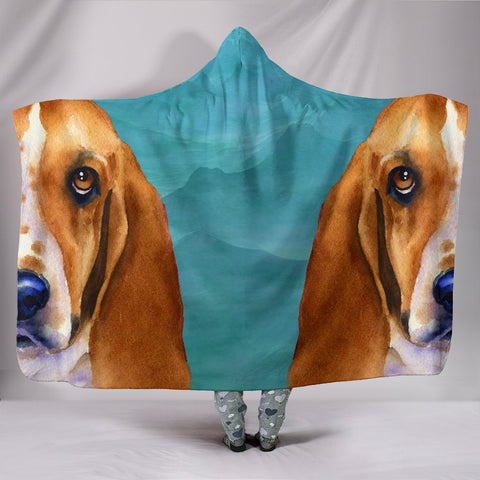 Basset Hound Dog Art Print Limited Edition Hooded Blanket-Free Shipping