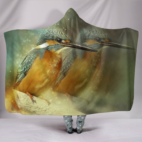 Kingfisher Bird Print Hooded Blanket-Free Shipping