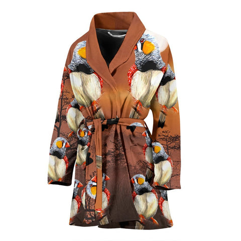 Zebra Finch Bird Art Print Women's Bath Robe-Free Shipping