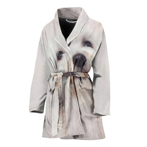 Amazing Coton de Tulear Dog Women's Bath Robe-Free Shipping