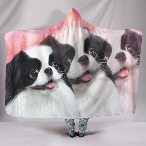 Cute Japanese Chin Dog Print Hooded Blanket-Free Shipping