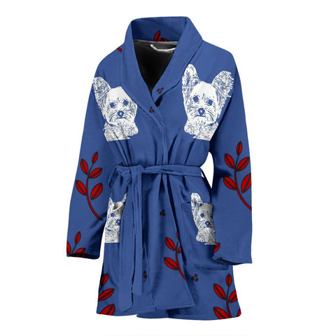 Yorkshire Terrier (Yorkie) Print Women's Bath Robe-Free Shipping