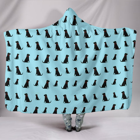 Black Labrador Dog Pattern Print Hooded Blanket-Free Shipping
