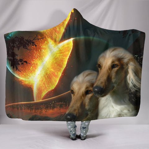 Afghan Hound Dog Print Hooded Blanket-Free Shipping