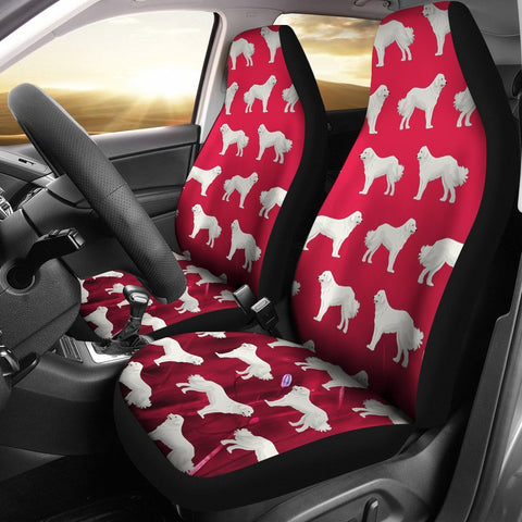 Great Pyrenees Dog Art On Red Print Car Seat Covers-Free Shipping