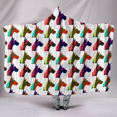 Great Dane Dog Pattern Print Hooded Blanket-Free Shipping