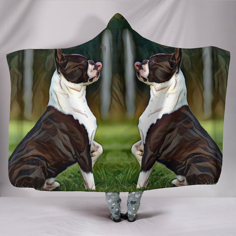 Boston Terrier Dog Art Print Hooded Blanket-Free Shipping