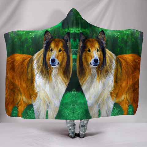 Rough Collie Dog Art Print Hooded Blanket-Free Shipping