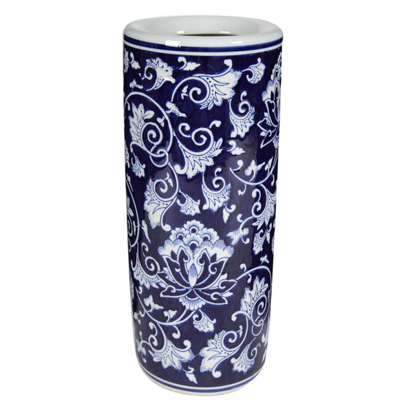 Porcelain Umbrella Stand, Blue & White