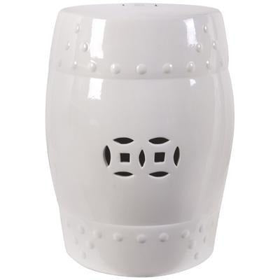 Chinoiserie Ceramic Garden Stool, White