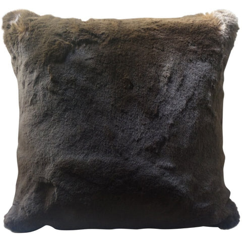 Faux Fur Pillow, Chocolate