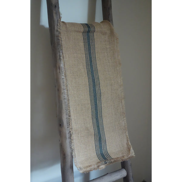 Grain Sack Burlap Runner, Green Stripe