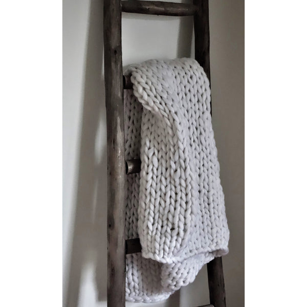 Chunky Hand-Knit Wool Throw, White