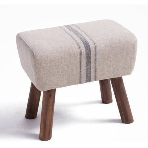 Furniture - Handmade French Accent Stool, Blue Stripe