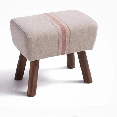 Furniture - Handmade French Accent Stool, Red Stripe