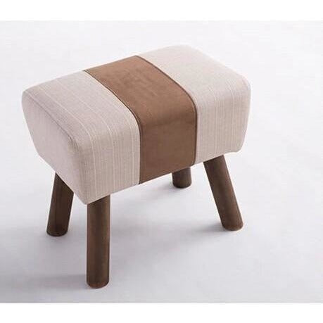 Furniture - Handmade French Accent Stool, Saddle Brown Stripe