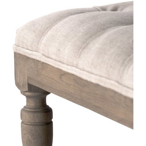 Furniture - Henry Tufted Ottoman, Natural Linen