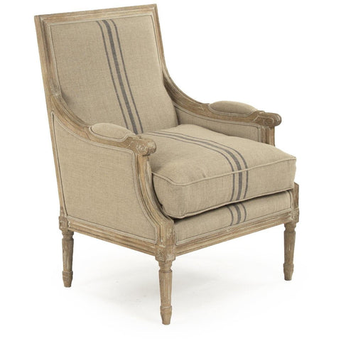 Furniture - Louis Club Chair, English Khaki Blue Stripe