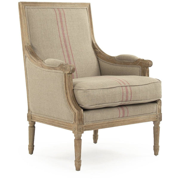 Furniture - Louis Club Chair, English Khaki Red Stripe