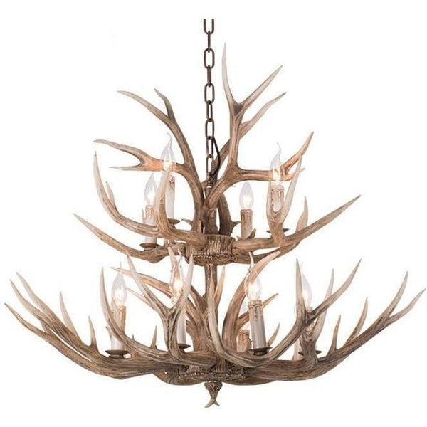 Lighting - Faux Elk Antler Chandelier - 12 Lights