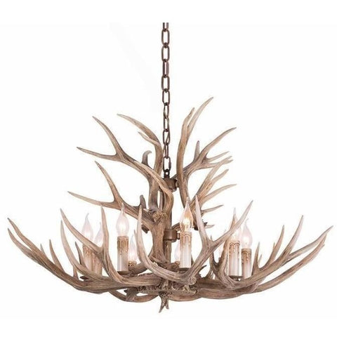 Faux Elk Antler Chandelier 9 Lights Manoir