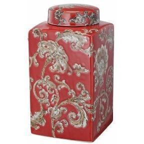 Objects & Accessories - Red Chinoiserie Jar, Rectangle
