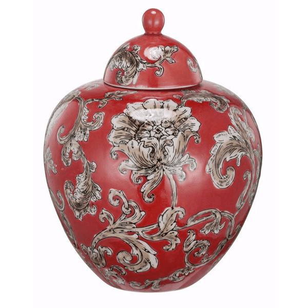 Objects & Accessories - Red Chinoiserie Jar, Round