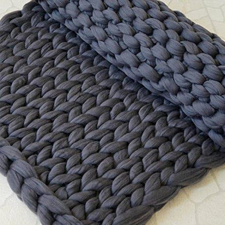 Soft Furnishings - Chunky Hand-Knit 100% Merino Throw, Dark Grey