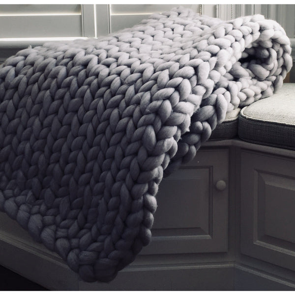 Soft Furnishings - Chunky Hand-Knit 100% Merino Throw, Light Grey