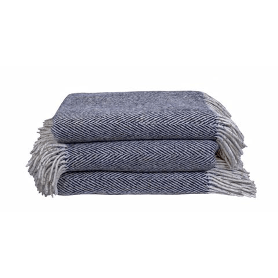 Soft Furnishings - Heavy Herringbone Throw, Navy