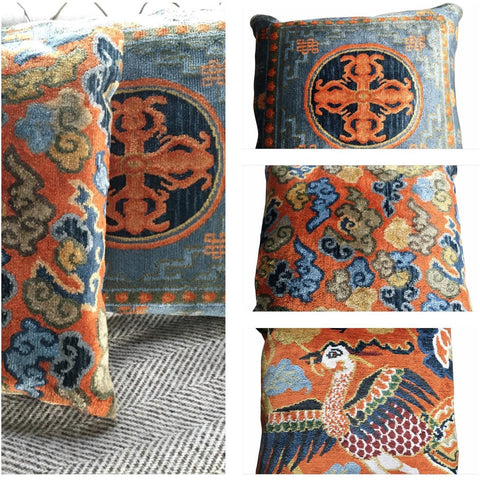 Soft Furnishings - Tibetan Hand Woven Pillow, Bird & Flower Design