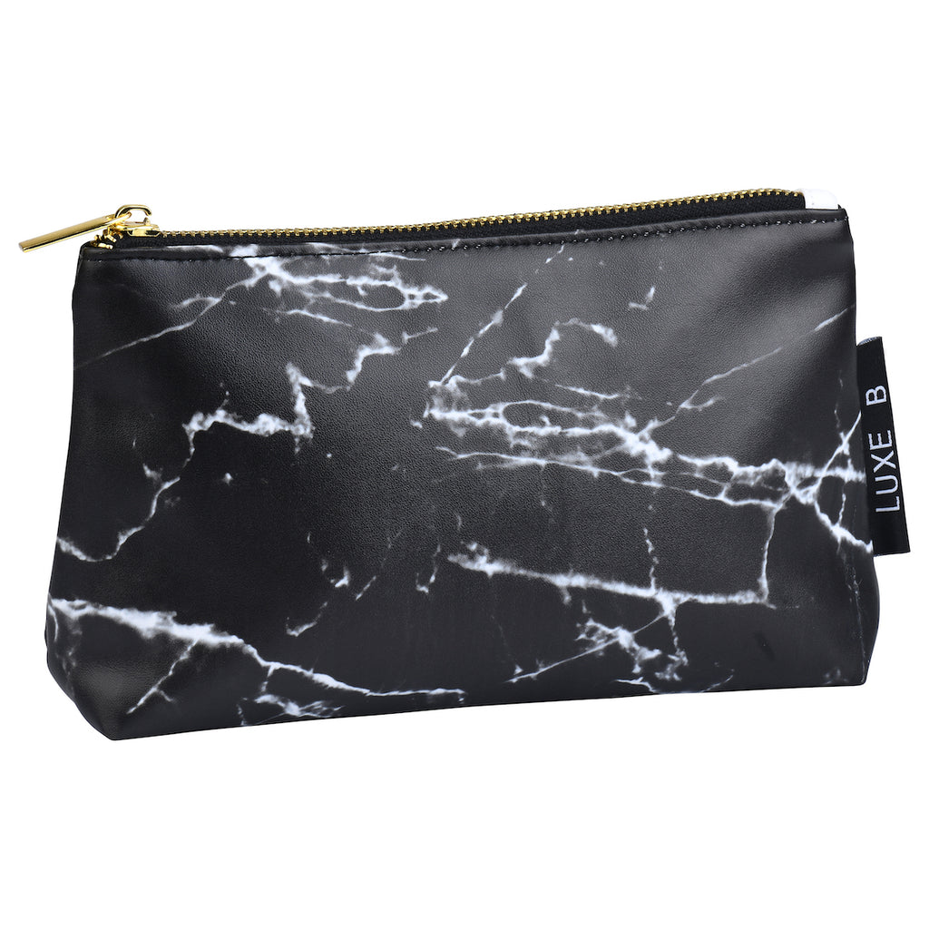 LUXE B Marble Cosmetic Makeup Bag- Black -Smaller size to fit in your purse - LUXE B OFFICIAL