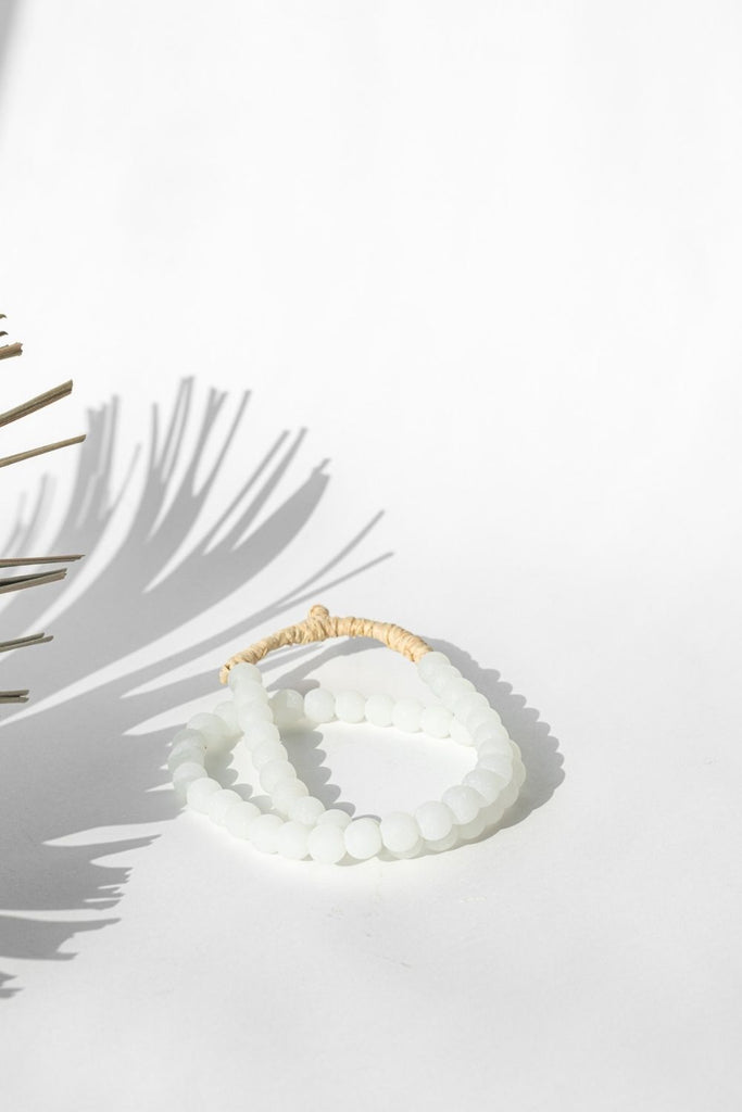 BOHO Recycled Glass Beads Frosted White - LUXE B PAMPAS GRASS