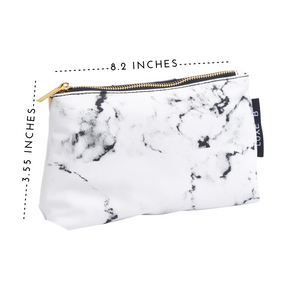 LUXE B Marble Cosmetic Makeup Bag- Smaller size to fit in your purse