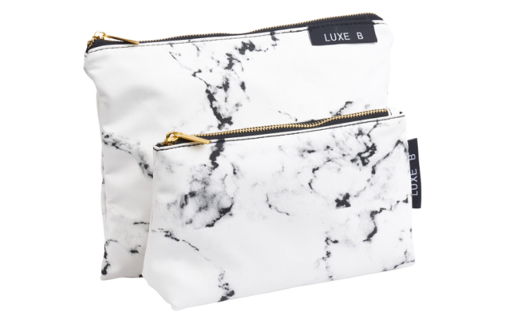LUXE B Marble Cosmetic Makeup Bag Set ( 2pcs)