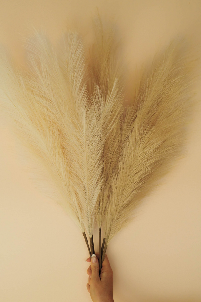 "Luxe B ""Faux"" Artificial Pampas Grass Vase Accent 6 Stems"
