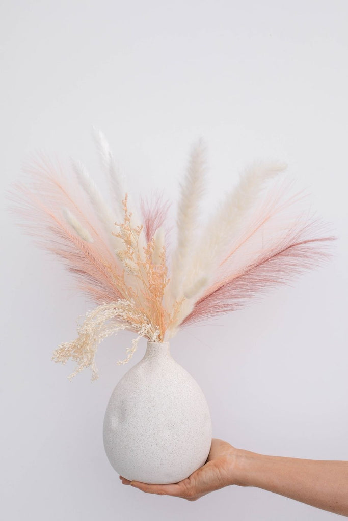 Luxe B Pampas Grass Vase Topper + Mojave Vase Promo Pack - Maroon Peach - LUXE B PAMPAS GRASS