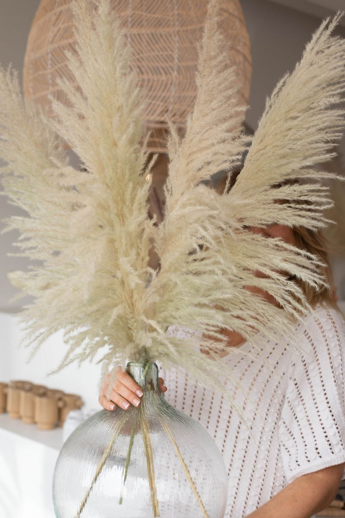 Type 8 Natural with Green Undertone Small 5 Stems PAMPAS GRASS - LUXE B Pampas Grass