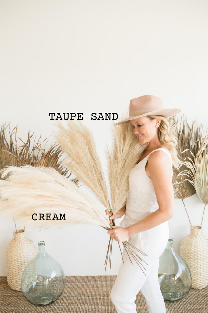 "Luxe B ""Faux"" Artificial Pampas Grass Taupe Sand"