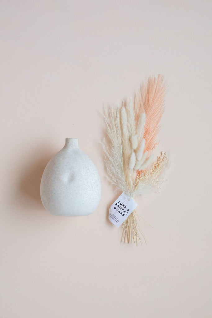 Luxe B Pampas Grass Vase Topper + Mojave Vase Promo Pack - Peach