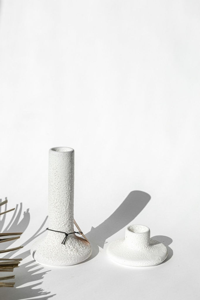 Distressed White Terra-Cotta Taper Candle Holder - LUXE B PAMPAS GRASS